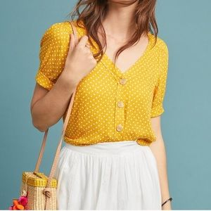 Anthropologie Maeve yellow button down blouse